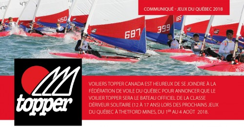 Topper will be the dinghy solo for the 2018 Qc Games